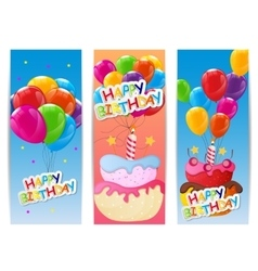 Color glossy happy birthday balloons and cake vector