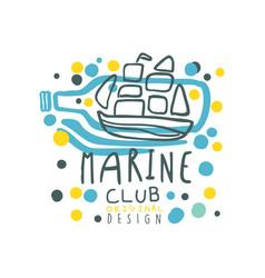 colorful sea club logo design with ornamental vector image