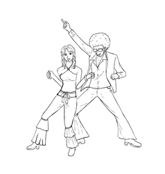 Couple dancing in the 70s fashion style vector image vector image