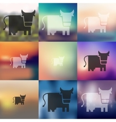 Cow icon on blurred background vector