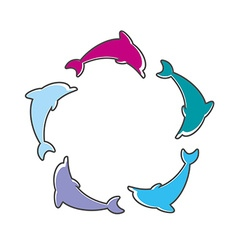dolphin sign vector image vector image