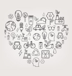 Ecology and environment concept heart shape vector