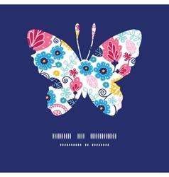 fairytale flowers butterfly silhouette pattern vector image