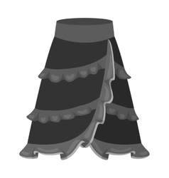 Flamenco skirt icon in monochrome style isolated vector