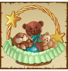 Group of small teddy friends sits in a basket vector