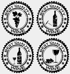 Grunge rubber stamps with wine symbols vector image vector image