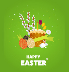 happy easter with egg grass flower vector image vector image