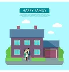 Happy Family in the Yard of Their House vector image vector image