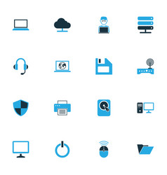 hardware colorful icons set collection of modem vector image