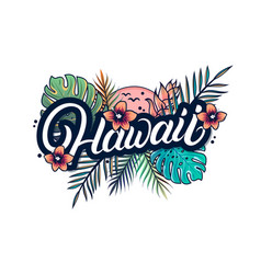 Hawaii hand written lettering with palm vector