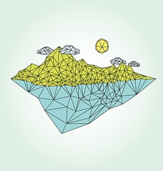 Island with mountain low poly style vector