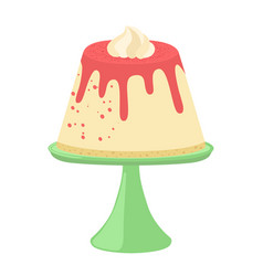 jelly pudding on plate in flat style and whipped vector image