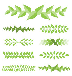 laurel leaves icon set vector image