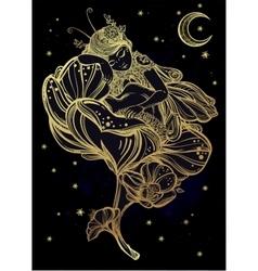 Little sleeping winged fairy vector image