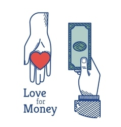 Love for money vector image