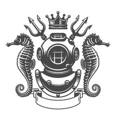 monochrome diving label emblem vector image vector image