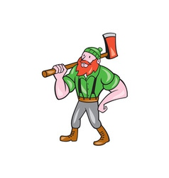 Paul bunyan lumberjack isolated cartoon vector