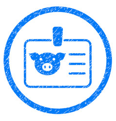 Pig badge rounded grainy icon vector