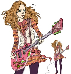 Rock chick playing electric guitar vector