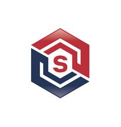 s letter shield logo vector image