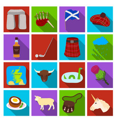 Scotland country set icons in flat style big vector