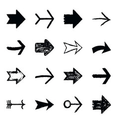 set arrow sign black texture paint vector image