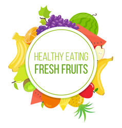 set of fruits healthy eating vector image vector image