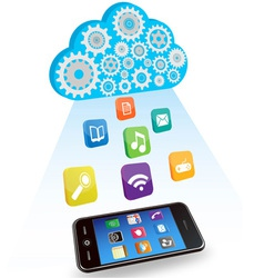 smart phone cloud and applications vector image vector image