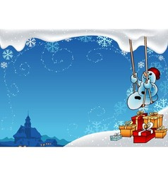 Snowman And Swing vector image vector image