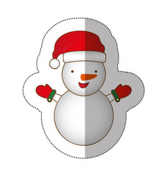 sticker colorful silhouette cartoon snowman vector image vector image