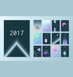 template futuristic calendar for 2017 vector image