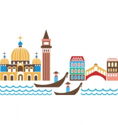 venice landmarks vector image vector image