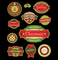 vintage christmas holiday labels and badges vector image
