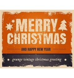 Vintage orange style Merry Christmas and Happy New vector image vector image