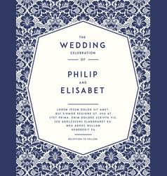 Vintage wedding invitation template vector