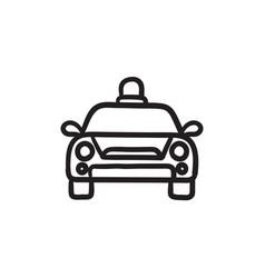 Police car sketch icon vector