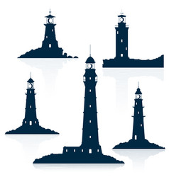 Lighthouses set isolated on white vector