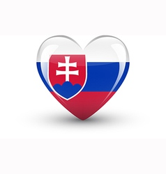 Heart-shaped icon with national flag of slovakia vector