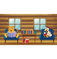 A tiger and a duck reading inside the house vector