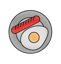 Sausage with fried egg vector