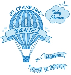 New baby boy with hot air balloon vector