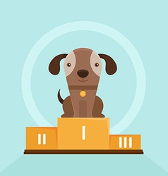 funny puppy winning in a dog show vector image