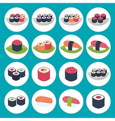Sushi circular icon set over blue vector image