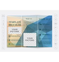 Tri-fold brochure mock up design polygonal vector