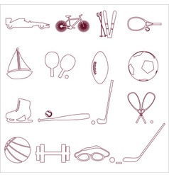 Various sport equipment and tools outline icons vector