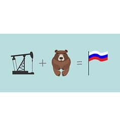 Oil rig and bear symbols russia flag of russia vector