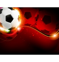 Soccer ball on red background vector