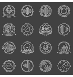 Recording studio labels and badges vector