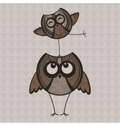 Two brown funny owls vector