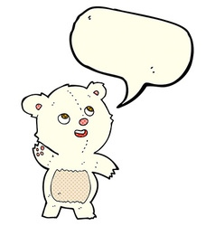Cartoon cute waving polar bear teddy with speech vector